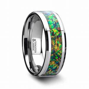 Blue Orange Opal Inlay Men39s Wedding Ring In Tungsten