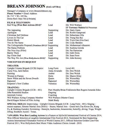 format  acting resume  breann johnson