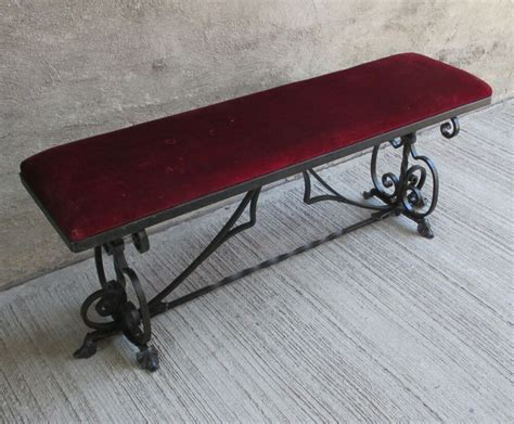 Rod Iron Benches by Antique Steel Ornate Wrought Iron 48 Quot Bench W Padded