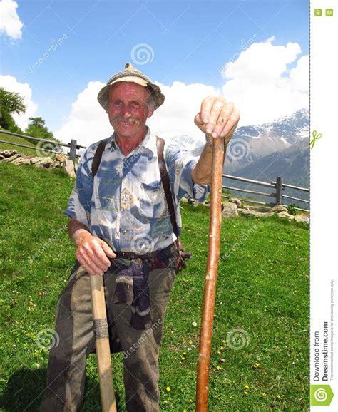 Elderly Farmer Shepherd Italian Alps Spring Summer