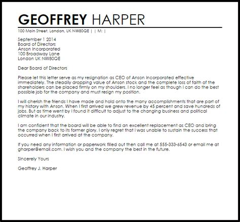 ceo resignation letter  letter samples templates