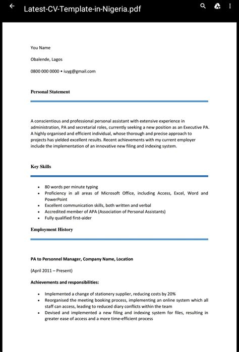 Draft Cv Format by Cv Format In Nigeria Recommended By Recruiters