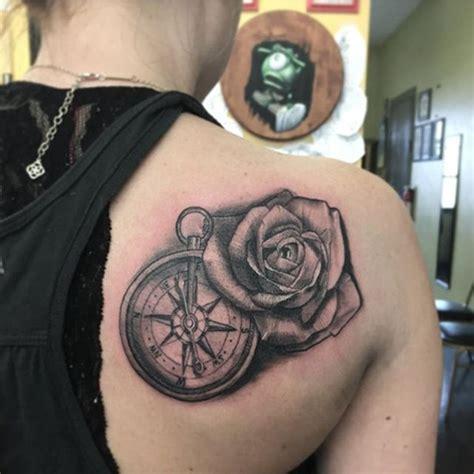 artistic  eye catching compass tattoo designs