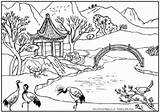 Coloring Pages Landscapes Paradise Tropical Island Landscape Adults Adult Ll sketch template