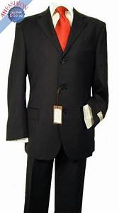 Men's 3-Button Black Suit with Shirt and Red Tie!