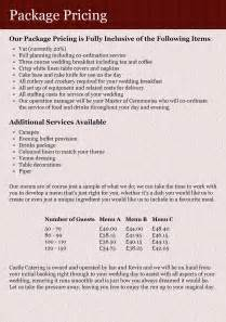 wedding catering prices castle catering brochure