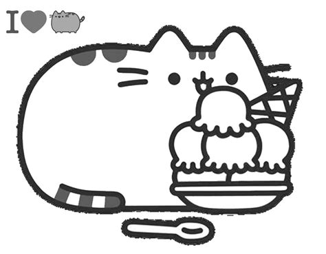 pusheen  ice cream coloring page  printable