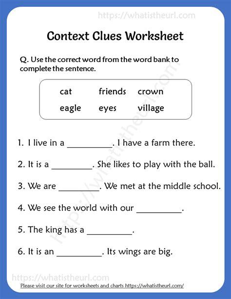 context clues worksheets   grade  home teacher