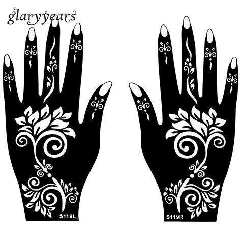 henna schablonen 1 para h 228 nde mehndi henna schablone blumenmuster wasserdicht design airbrush farbe