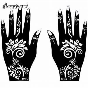 Henna Tattoo Schablonen : 1 para h nde mehndi henna tattoo schablone blumenmuster wasserdicht design airbrush farbe tattoo ~ Frokenaadalensverden.com Haus und Dekorationen