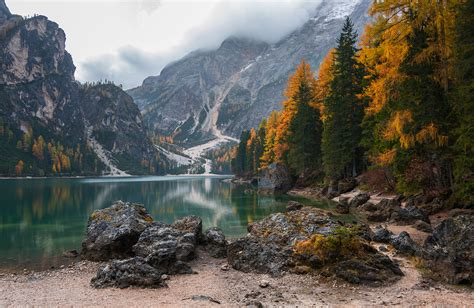 Dreamy Pixel Autumn At Lake Braies In Dolomites Dreamy