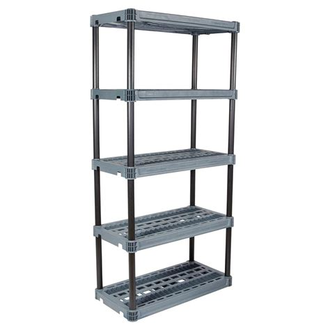 Home Shelving Units by Plano 18 In X 36 In 5 Shelf Heavy Duty Black And Grey