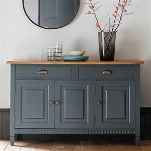 Painted Sideboard With Oak Top Midnight Primrose Plum