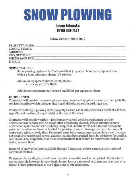 Snow Removal Contract Template Free by Snow Removal Contract Snow Removal Flyer Templates Snow