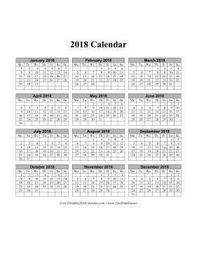 printable  calendar   page vertical months run