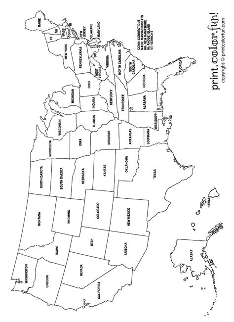 usa coloring page labeled  states names  print