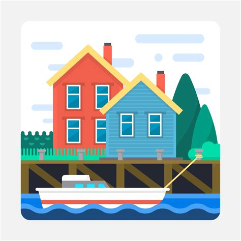 Tugboat Vector Question by Flat Landscape With Port Free Vector Stock