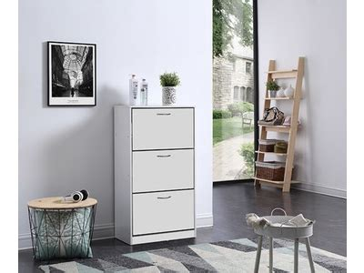 bureau basika meuble a chaussure 3 abattants bolero blanc
