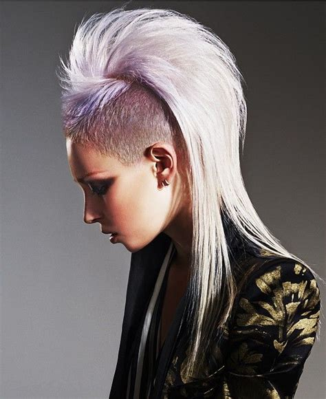 long blonde straight coloured multi tonal punk purple