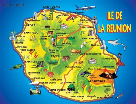 Ile De Tourisme Carte by Carte De La R 233 Union La R 233 Union Cartes Des Villes Relief