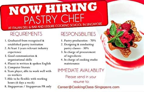 aplication leter for a pastry chef hiring experienced pastry chef min 3 years experienced