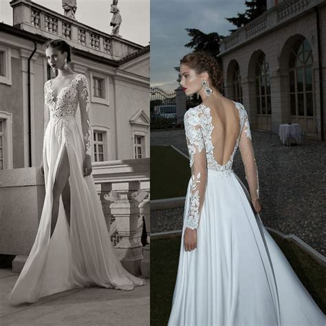 Lace Wedding Dresses With Sleeves And Open Back Unusual