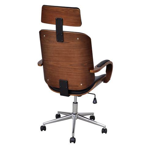 la boutique en ligne chaise de bureau rotative en bois cintr 233 avec repose t 234 te et faux cuir