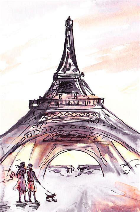sketches walking to the eiffel tower painting by irina sztukowski