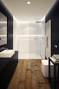 idee decoration salle de bain salle de bain en blanc With parquet blanc salle de bain