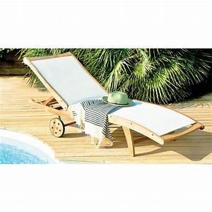 Bain De Soleil Avec Accoudoir : bain de soleil bora avec roues transat chilienne relaxation mobilier de jardin jardin ~ Teatrodelosmanantiales.com Idées de Décoration