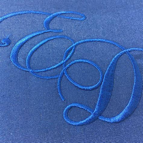 monogram embroidered royal blue square silk wedding