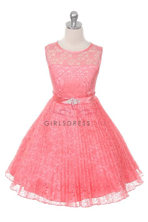 coral color dresses coral lace pleated flower dresses wedding
