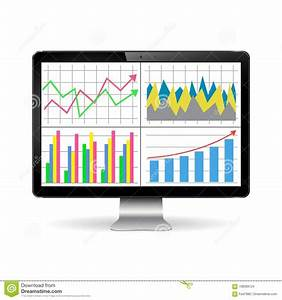 Illustration Of Modern Computer Display With Graphs And