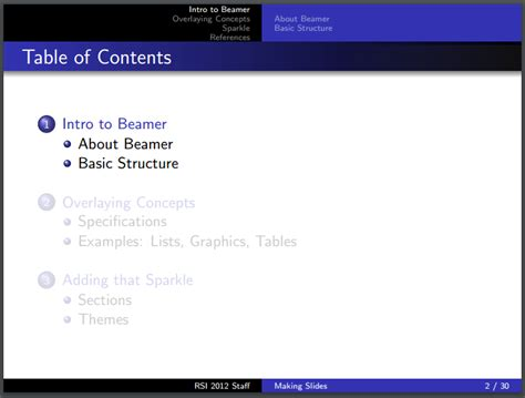 table of contents hide bmx beamer highlight subsections below current section