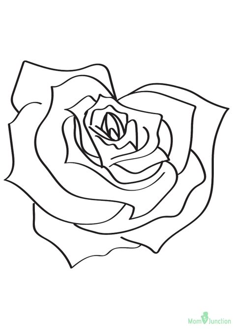 heart shaped rose coloring page  printable