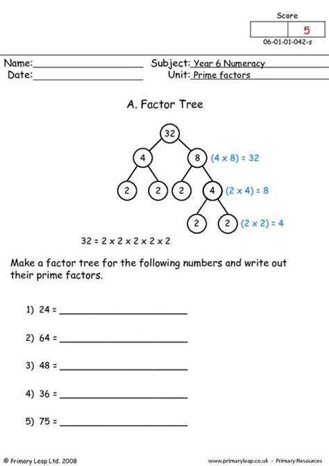 primaryleap co uk prime factors worksheet teaching