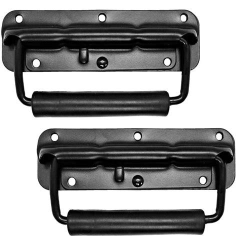 black surface mount spring loaded speaker handle rack handle seismic audio