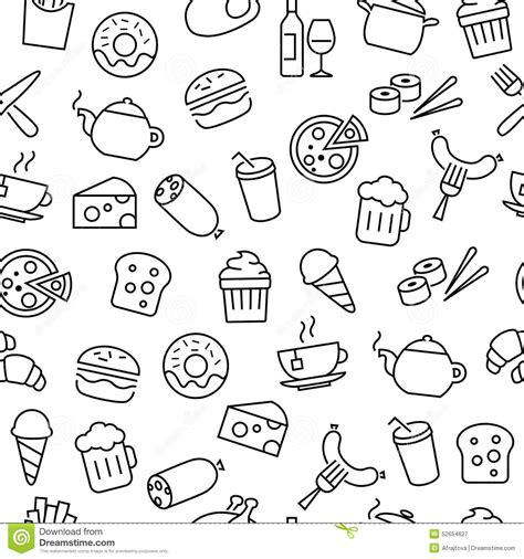 seamless pattern  food icons stock vector image