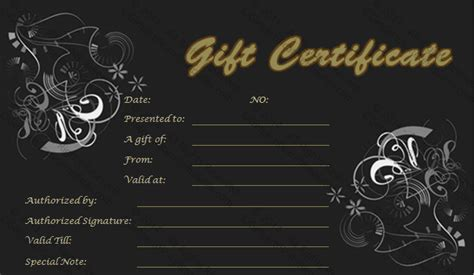 gold  black gift certificate template
