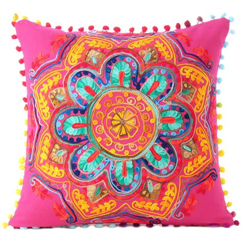 Colorful Sofa Pillows by Pink Orange Blue Embroidered Colorful Throw Pillow