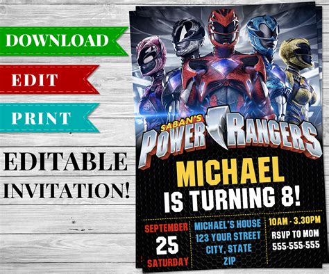 power ranger invitations template printable power rangers invitation pdf printable birthday supplies