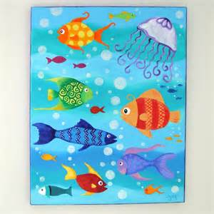 Kids Fish Painting Acrylic On Canvas