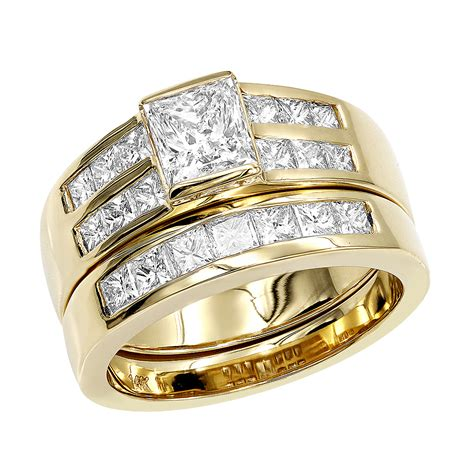 14k gold 2 carat princess cut diamond engagement ring wedding band