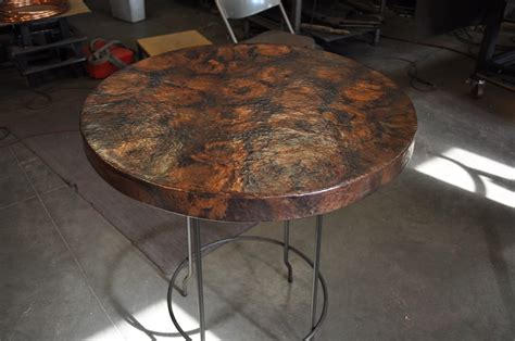 copper table tops add a new look to an old table with copper