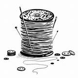Thread Spool Needles Buttons Vector Illustration Sewing Reel Ink Drawing sketch template