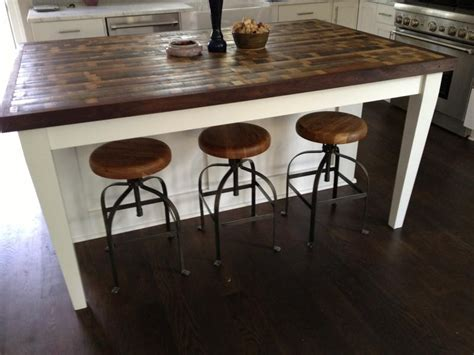 Wooden Island Stools by 15 Reclaimed Wood Kitchen Island Ideas Rilane