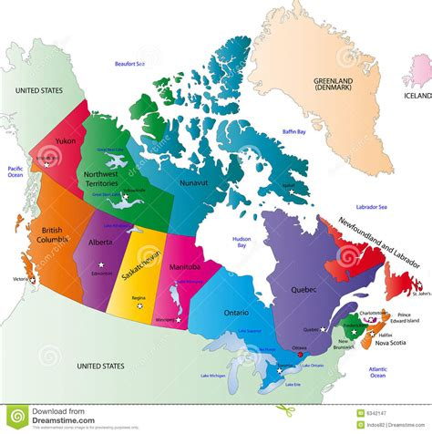 canada color map stock vector of alaska colored 6342147