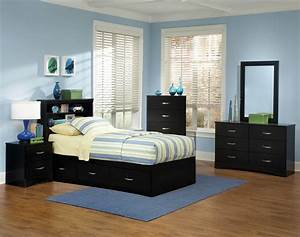 Jacob, Twin, Black, Storage, Bedroom, Set