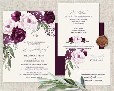 boho chic wedding invitation printable set plum wedding
