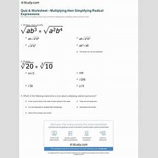 Quiz & Worksheet  Multiplying Then Simplifying Radical Expressions Studycom